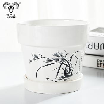 Chinese Painting Printing Small Ceramic Gardening Plant Pot / Flower  Planter Ceramic Flower Pot - Buy Small White Ceramic Flower Pots,Flower Pot
