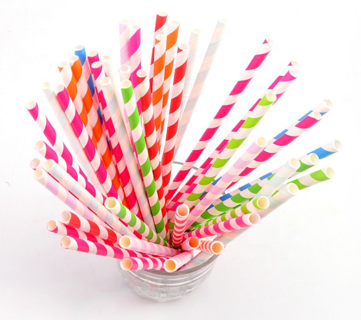 "Chevron Striped Paper Straw Drinking Cocktail Milkshake Smoothie 6mm/2.36"" 8mm/3.15"" Baby Red Pink Blue Stripe Paper Straws"