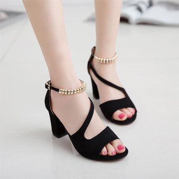 84670249b thick heel sandals women 2017 summer comfortable med heels open toe fashion  pumps shoes woman casual