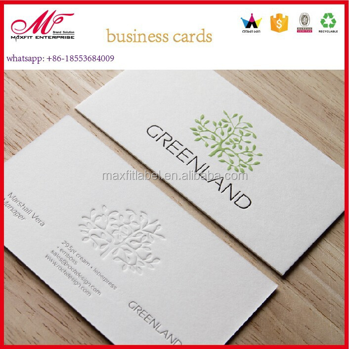 embossed business cards/letterpress calling card wholesale
