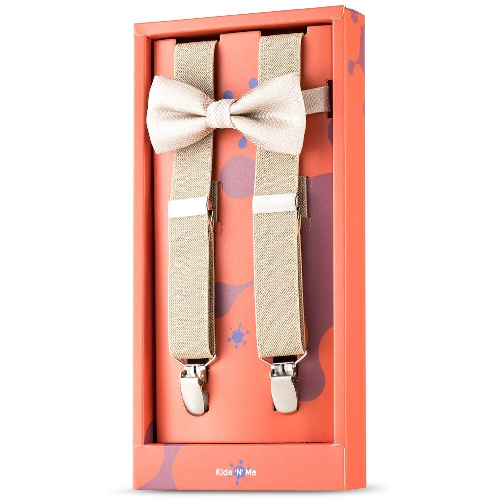 Kid n' Me Kids Adjustable Elastic Suspenders And Bow Tie Gift Set Solid Color Perfect for Babies, Toddlers, Boys and Girls