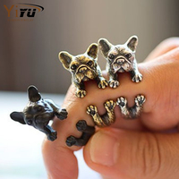 Adjustable Cute Animal Pet Dog Rings for Women Punk Jewelry Birthday Gifts