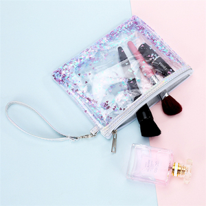86bbe0e6c866 women clear pvc makeup bag transparent glitter cosmetic bag with zipper