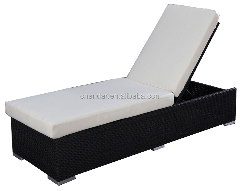 wicker chaise Lounge, sun bed with cushion, comfortable couch