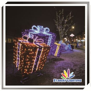 outdoor light up large decorative led christmas gift boxes 3d motif light