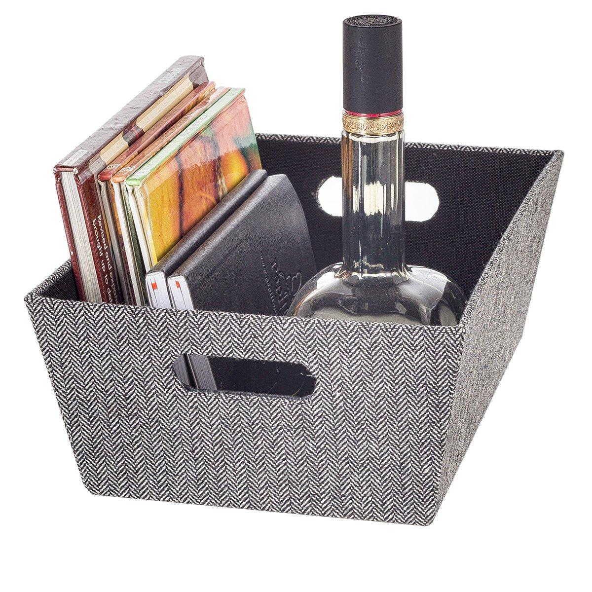 8c7fddd5466d Buy Creative Scents Fabric Storage Bin, Black & White Herringbone ...