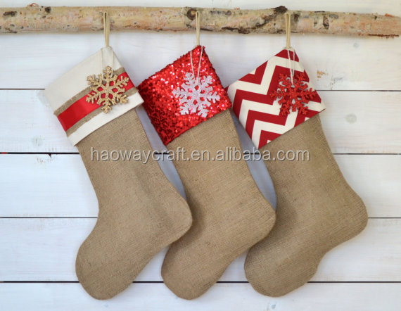 Monogram jute burlap christmas stocking