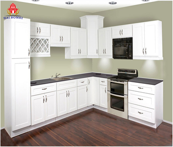 Imitation Wood White Aluminum Kitchen Cupboard Kitchen Cabinet