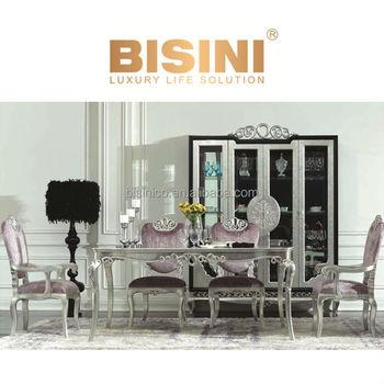 European Neoclassic Style Victoria Dining Room Furniture Rectangular Table Set