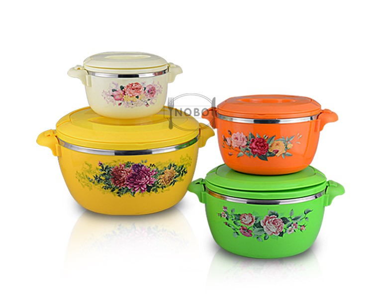 4 PCS Food storage container set fresh pot with handle