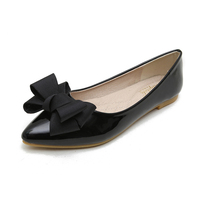 China Leather Style Bowknot Black Soft Pointed Toe Ballerina Flats Ladies Stylish Office Pump Shoes Flat For Women