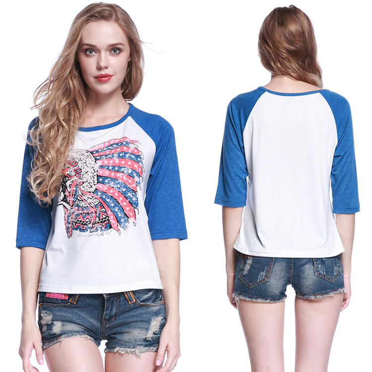 1/2 sleeve round neck casual summer t-shirt printer woman tops casual for wholesale