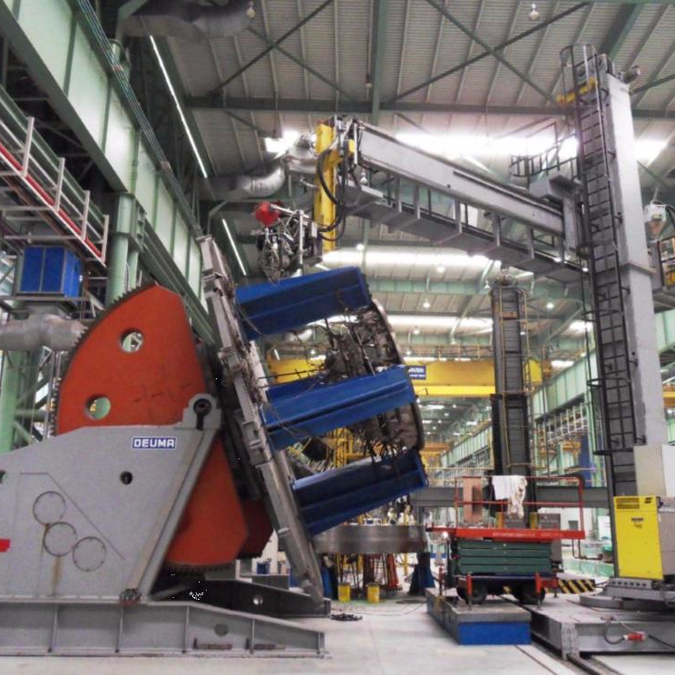 DEUMA geautomatiseerde zware dubbele kolom Roterende lassen positionering turn en tilt tafels klepstandsteller