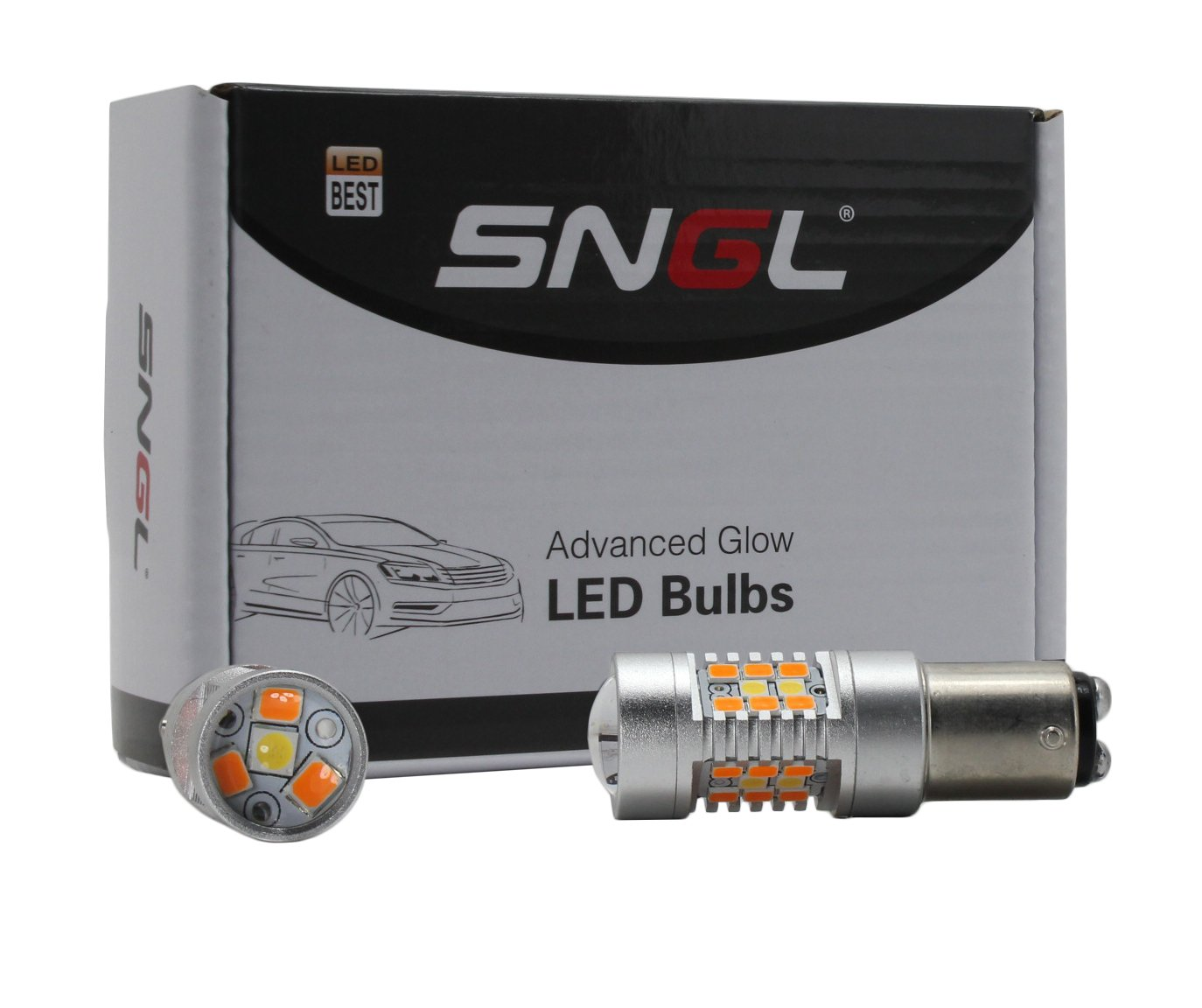 SNGL Super Bright 1157 BAY15D P21/5W 2057 2357 7528 Switchback LED Bulbs For Auto RV SUV MPV Truck Car Turn Signal Lights & ( DRL / Parking Lights ) - Amber(Yellow) / Xenon White (Pack of 2pcs)