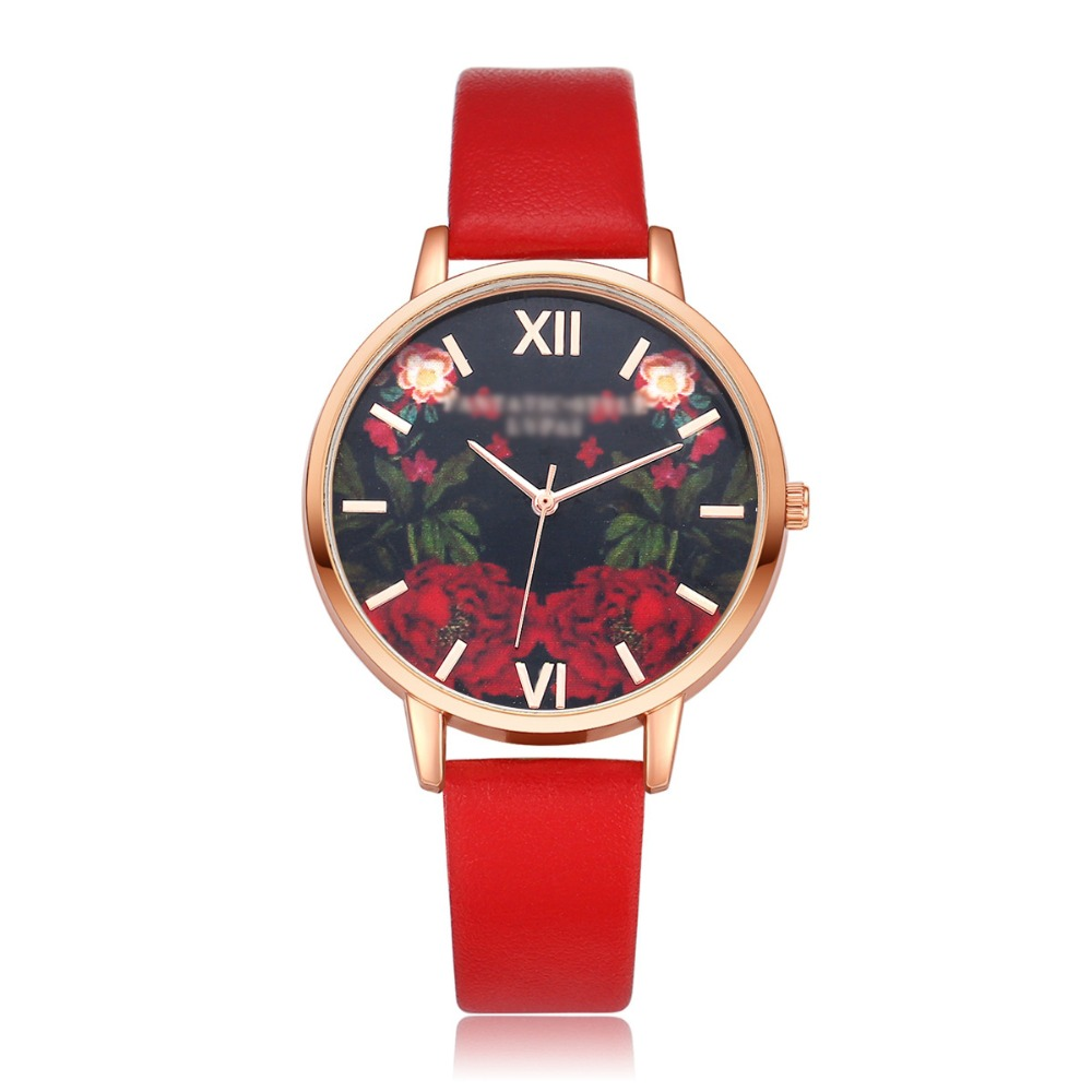 Hot ladies quartz watch printing trend 3D sense of flowers scale quartz watch direct