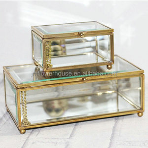 home decoration metal crystal gold glass jewelry display box