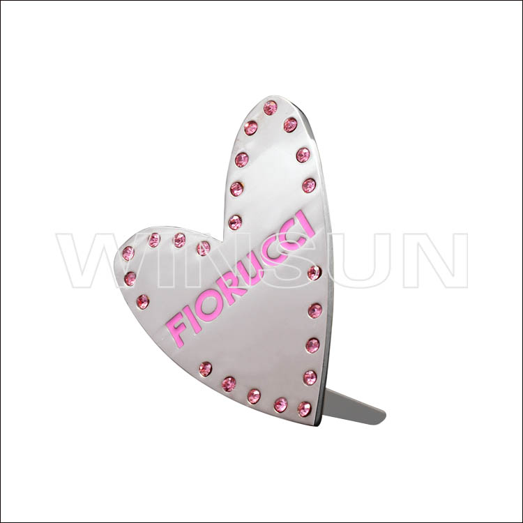heart shape metal plates brand logos for handbag
