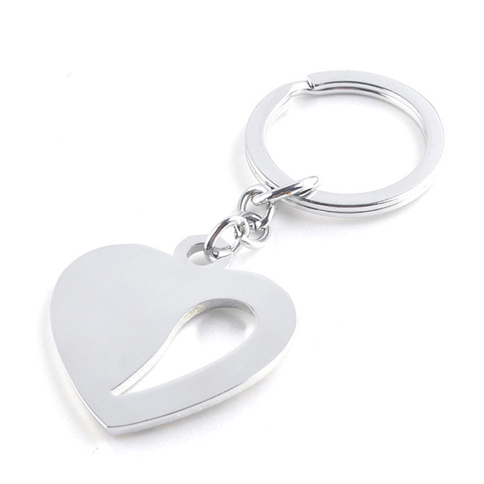 Custom logo design heart metal key chain inlaid with diamonds