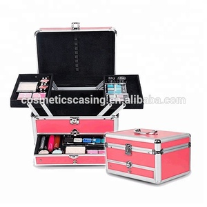 Cheap Handmade Hard Beauty Box Carrying Vanity Barber Tools Cosmetic Aluminum Drawer Train Cases Makeup Trolley