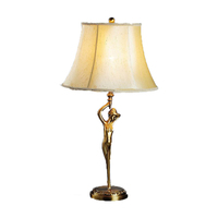 Solid brass statue table desk lamp with fabric shade CE/CCC/SAA standard for home lighting
