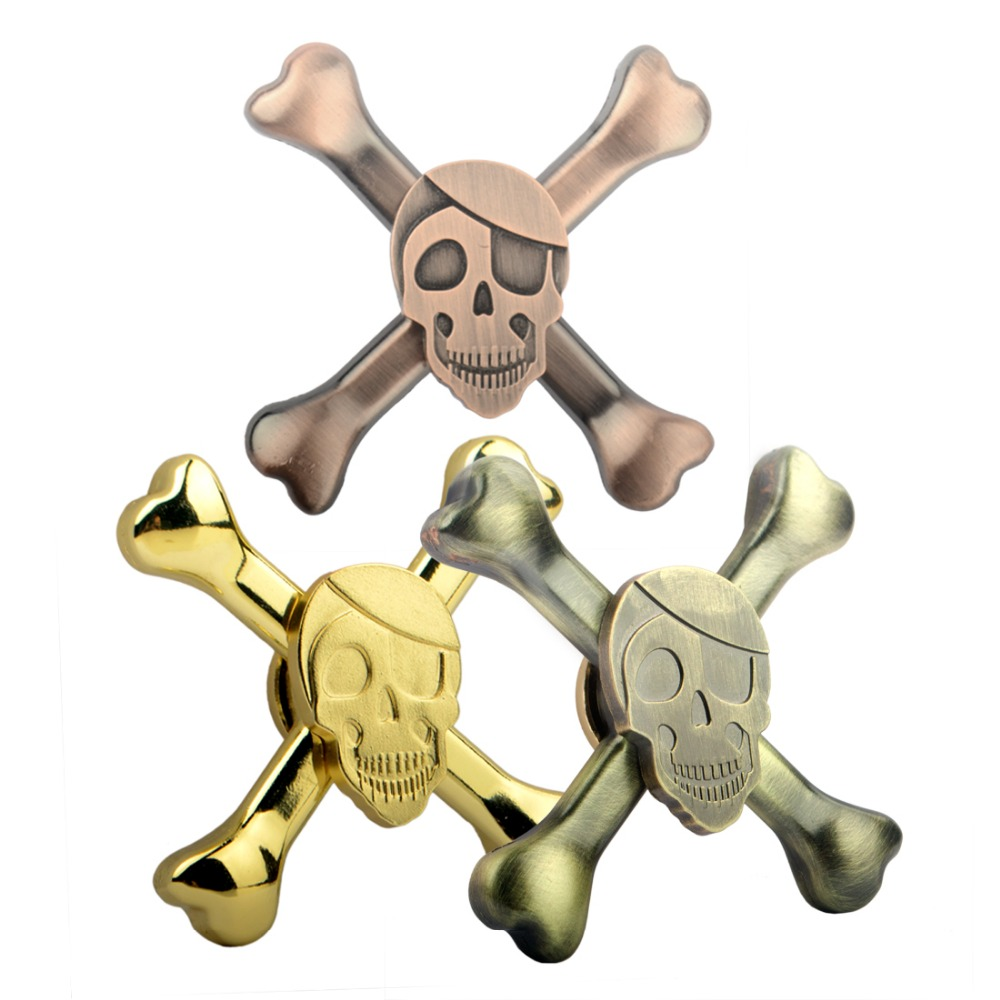 Fidget Spinner With Skull Suppliers And Rainbow Mainan Hand 3 Circle Arms Manufacturers At