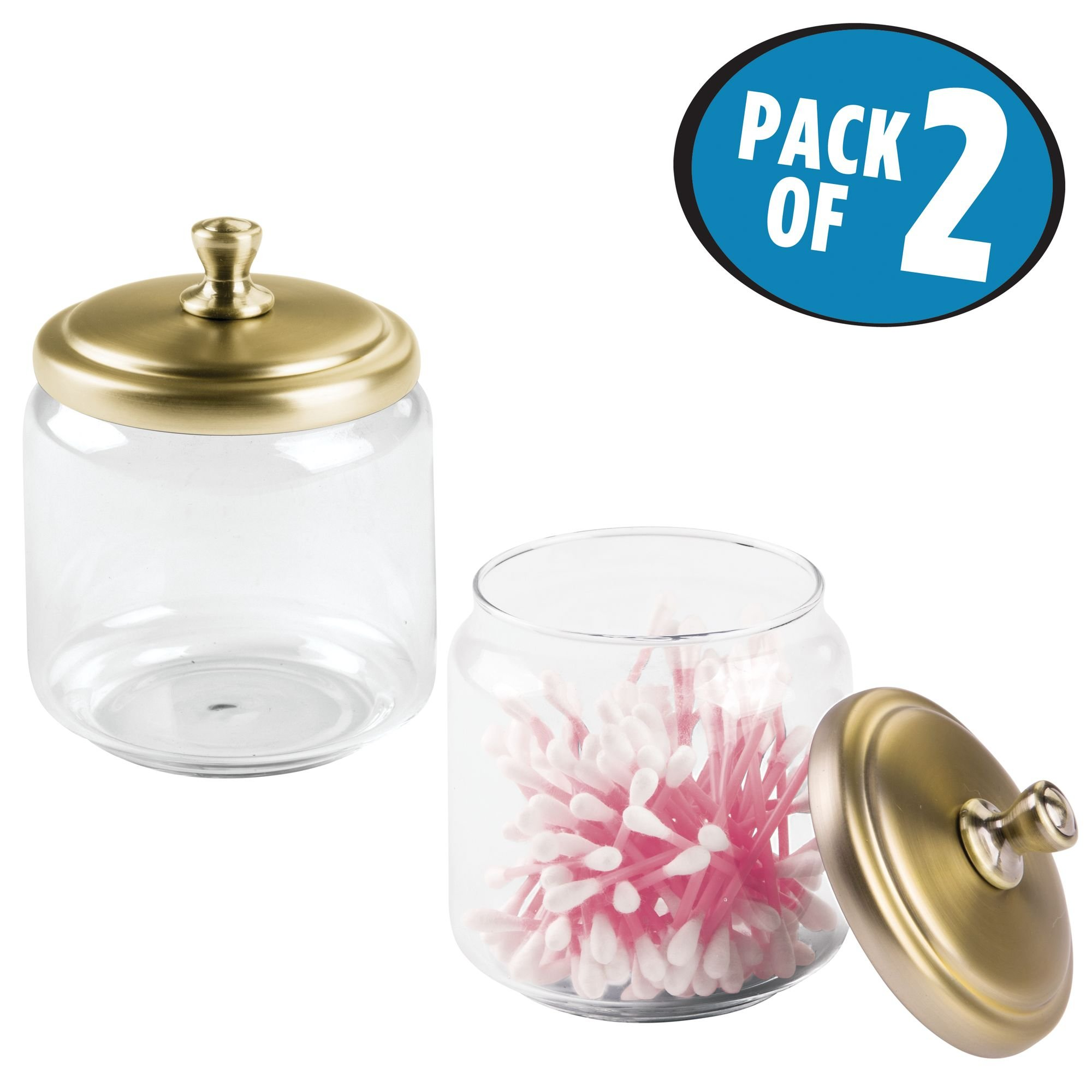 Get Quotations Mdesign Bathroom Vanity Gl Storage Organizer Canister Jars For Q Tips Cotton Swabs