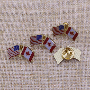 CHINA CHEAPEST METAL GOLD USA CANADA FLAG PIN WITH SOFT ENAMEL