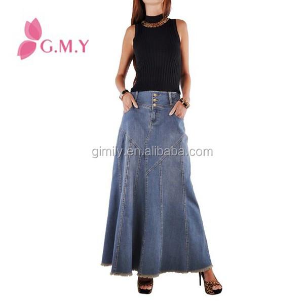 Fantastique jupe Jean En Buy Taille Haute Longues Gros Évasée Denim Jean Jupes Longue vNwym80OPn