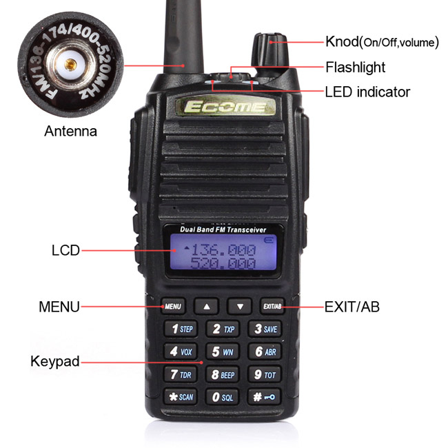 Ecome ET-UV200 136-174/400-520 MHz FM Ham Two-way Radio