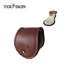 Tourbon Inovatif Ukuran Besar Kanvas dan Kulit fishing reel kasus/Top Grain kulit Asli Fishing Reel Cover Pouch/kasus nyata
