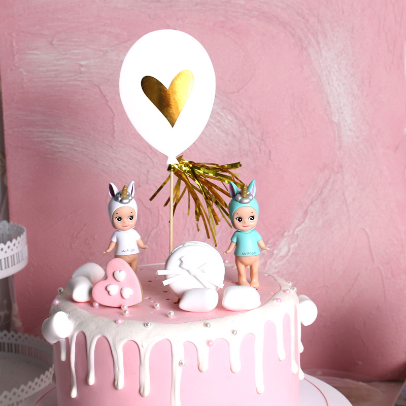 Golden Tassel Cake Topper Handmade Happy Birthday Party Decoration Cupcake Toppers Balloon Beach Supplies