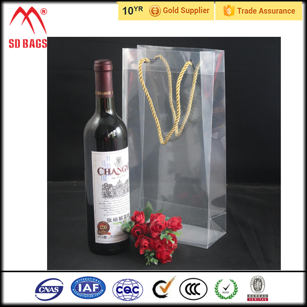 Fashion design clear PVC Plastic ice bag for wine promotion,Wine Bag Ice Bottle Bag Wine Ice Bag,ice cooler bag