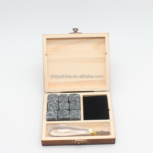 Amazon hot whisky stone set with wooden box package and tongs
