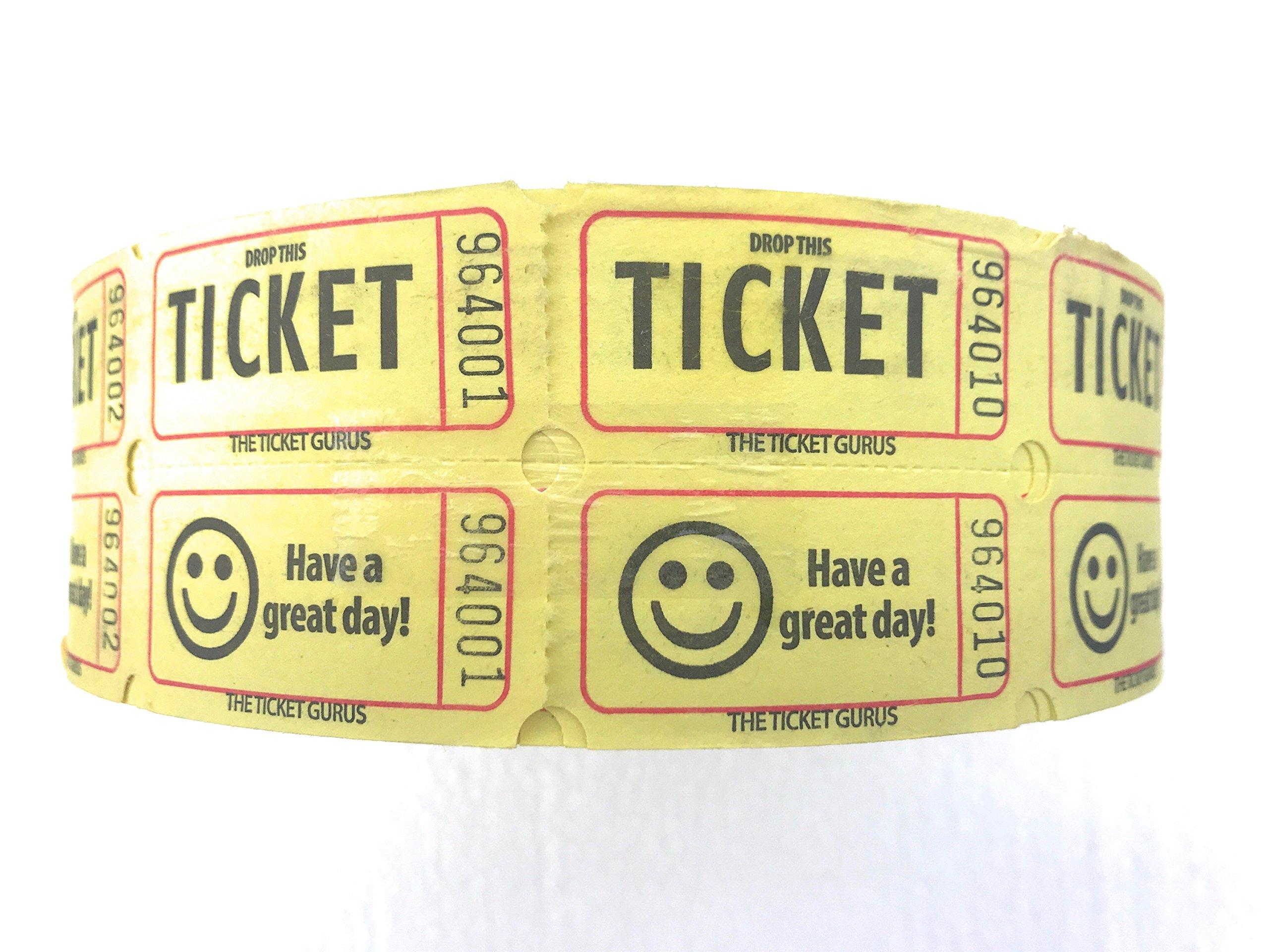 Yellow Double Raffle Ticket Roll 2000 tickets roll