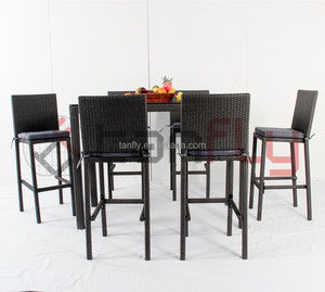 rattan patio furniture outdoor bar stools bar table and chairs set