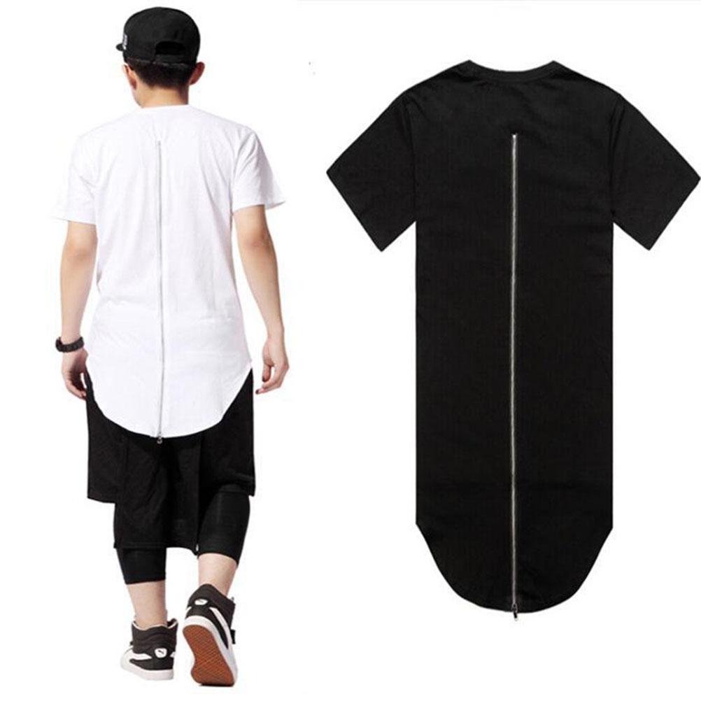 efbe9636 Long Back Zipper Streetwear Swag Man Men Clothing Black White Male T ...