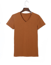 wholesale unisex 95 cotton 5 spandex brown gym clothing v neck blank t shirts