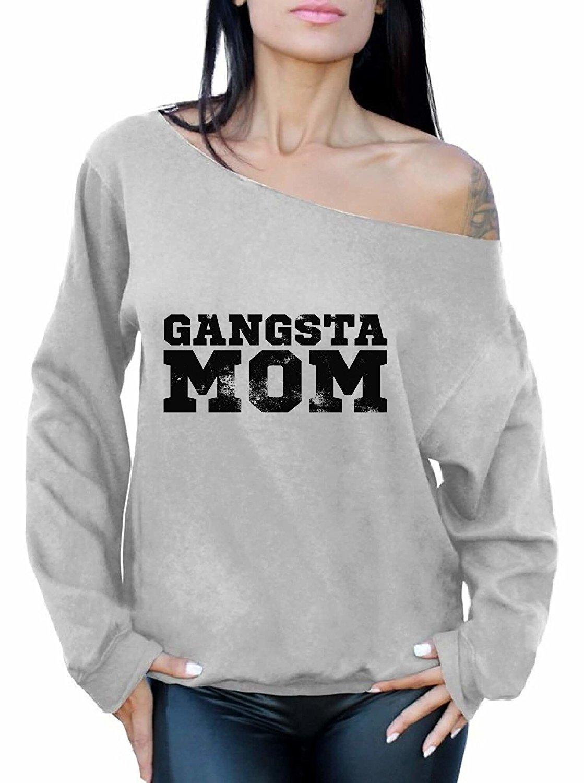 Get Quotations · Awkward Styles Women's Gangsta Mom Vintage Off Shoulder  Tops Sweatshirt Black Cool Gangsta Rap
