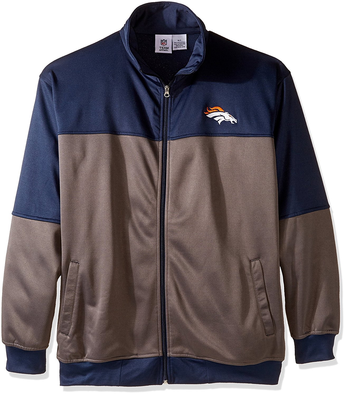 NFL Denver Broncos Unisex Poly fleece Track Jacket, CHARCOAL/Orange, X-Large Tall