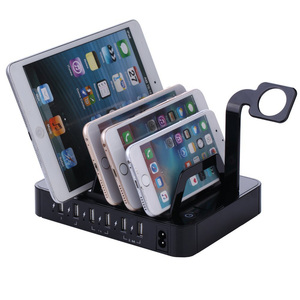 6-port Multi USB desktop smart rapid power charging station organizer simultaneously charges phones tablets and wearable device