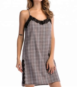 A3812 Summer Fashion Dresses Lace Plaid Tartan Splicing Braces Women Sexy V-Neck Sleeveless Straight Mini Dress