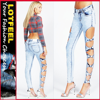 Bow Side Acid Wash Women Skinny Jeans Pants(lotx073) - Buy Ripped ...