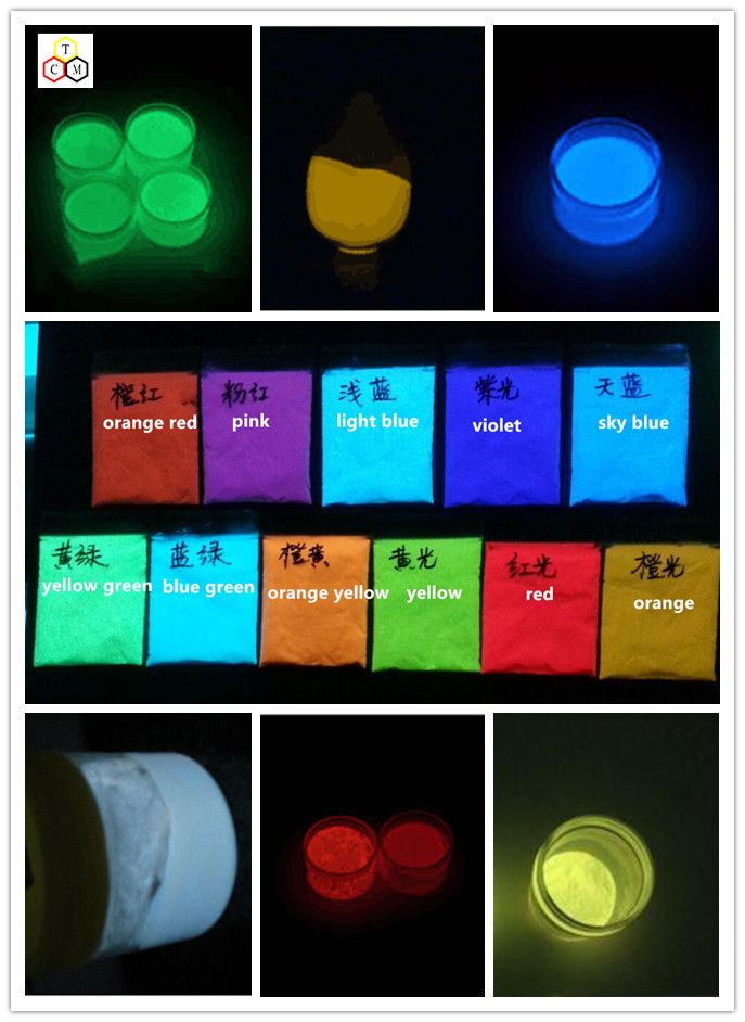 night glow powder for glow in the dark highlight paint 9 color strontium aluminate photoluminescent pigment