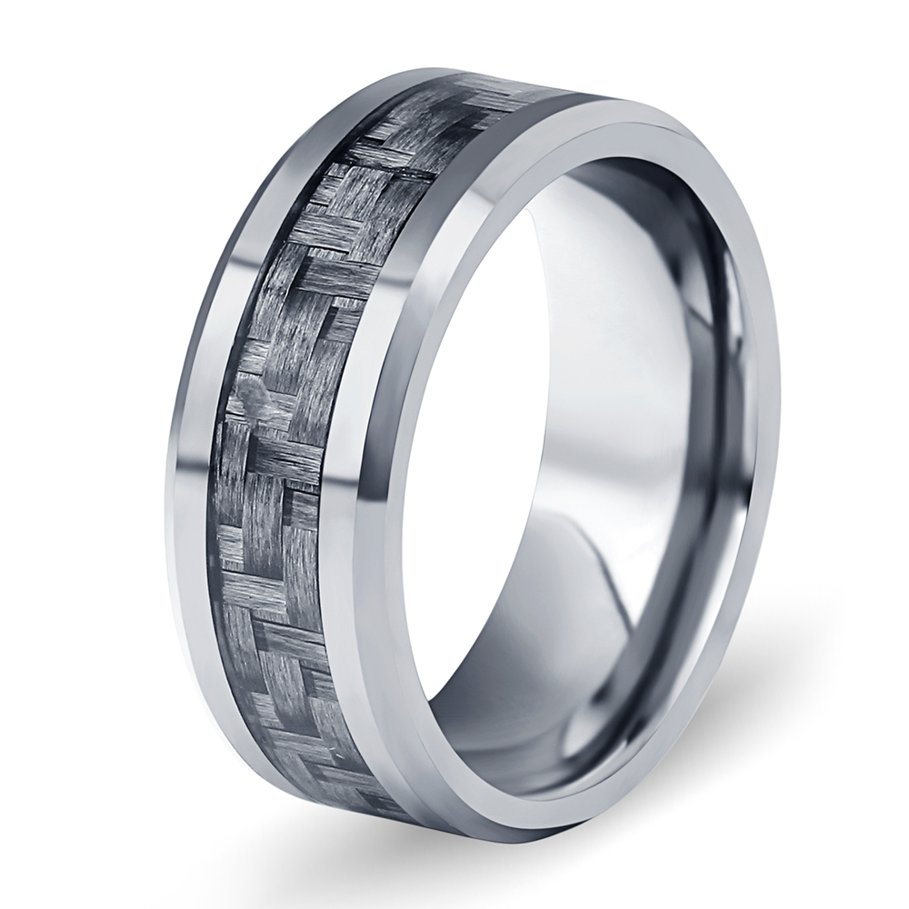 Mens Wedding Band New US Size 7-10 Black Carbon Fiber 8mm Tungsten Steel Carbide <strong>Ring</strong>