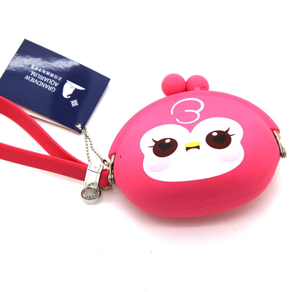 silicone rubber cheap pvc coin purse with keychain for promotional gift