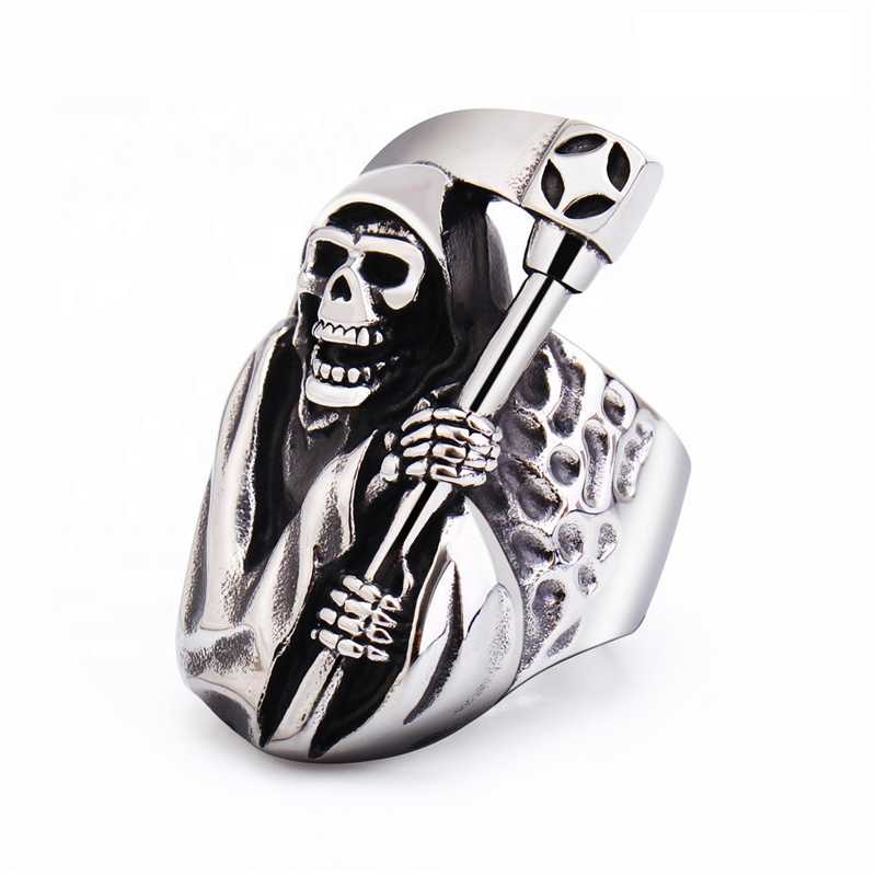 Personalized Antique <strong>Silver</strong> 3D Men Cool Sickle Skeleton Death Ring