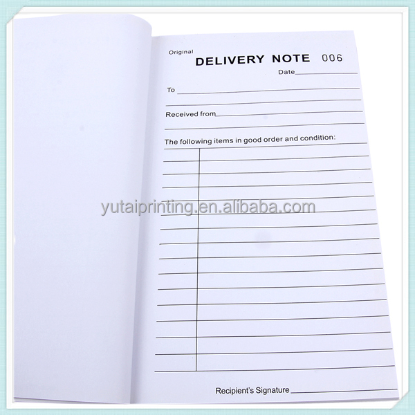 Bill Receipt Book Invoice Printing Delivery Note Form, View