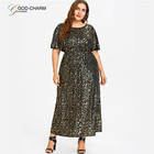 *GC-66870206 2020 new arrivals Wholesale New Design Maxi Long Short Sleeve Prom Dress Evening Plus Size Dress For Fat Women
