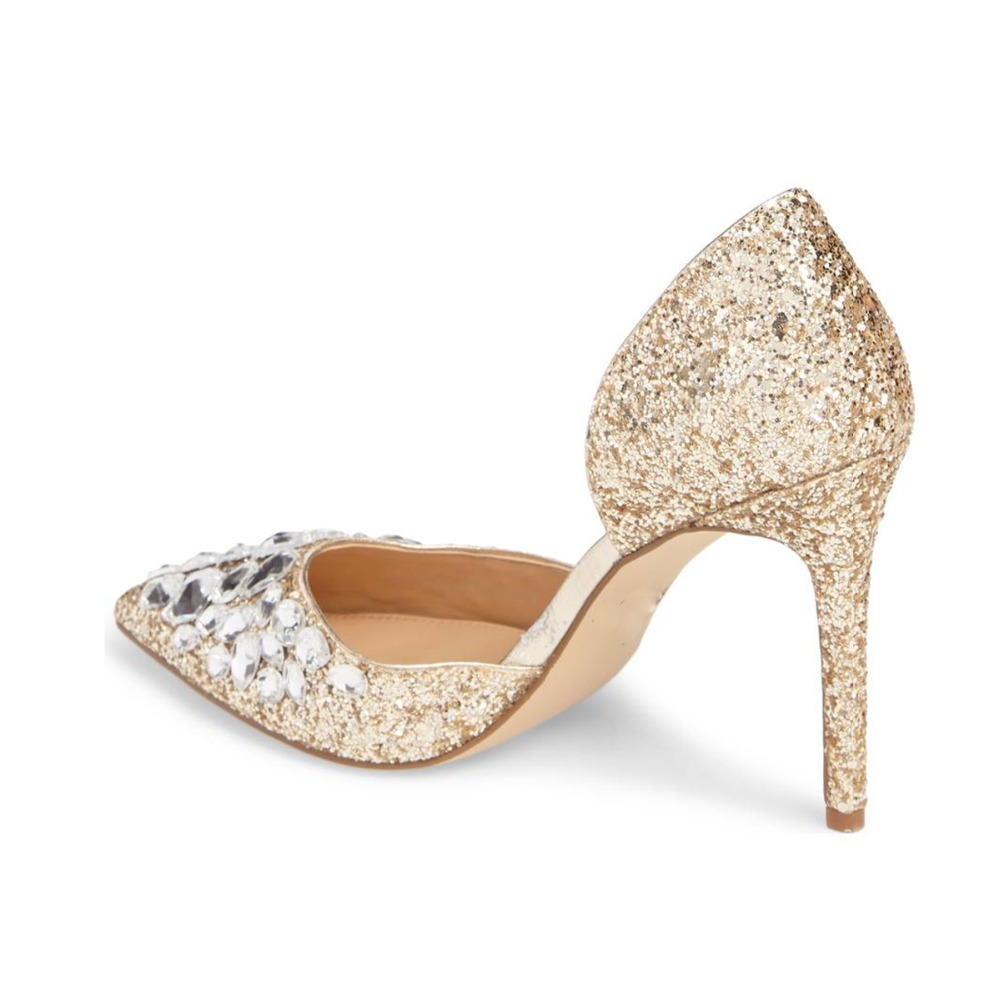 Heel Glitter Mid Shoes Toe Pumps Pointed Women qxFtPx
