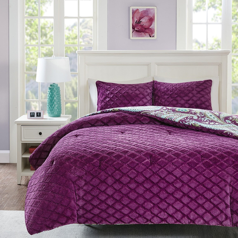 Cheap purple flower comforter set find purple flower comforter set get quotations osd 3pc girls dark purple green white paisley theme comforter full queen set boho scrollwork mightylinksfo